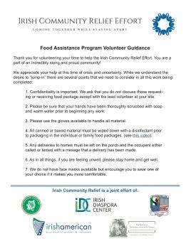 Irish Relief Effort Volunteer Guidelines