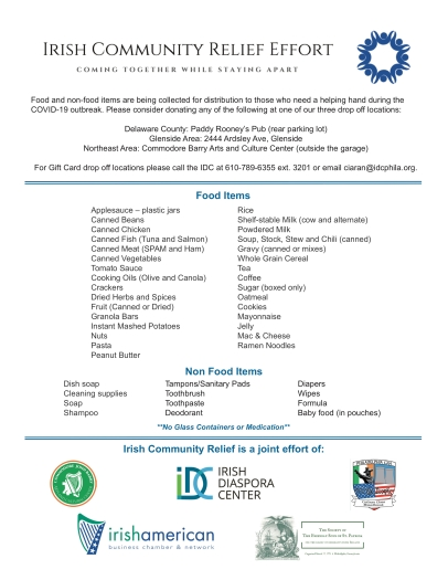 Irish Relief Items for Donations