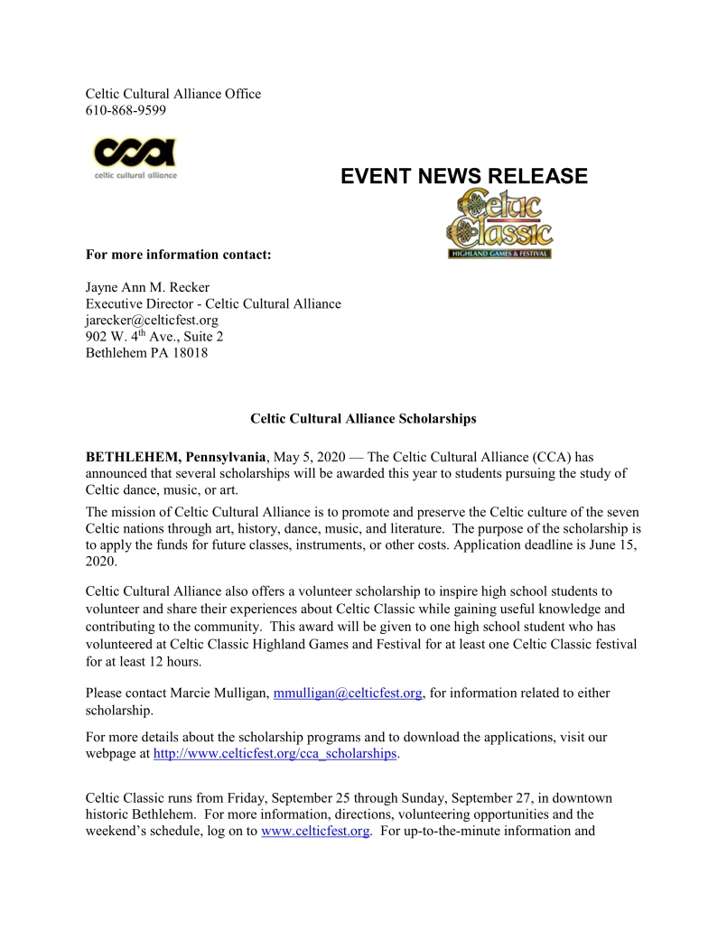 Celtic Cultural Scholarship Press Release