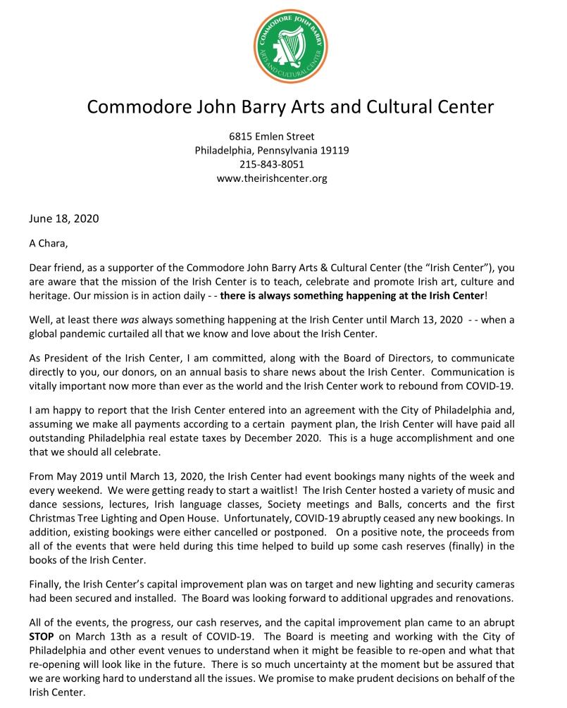 Irish Center fundraising ltr 2020